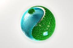 Yin Yang met gras en water Royalty-vrije Illustratie