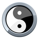 Yin and Yang Metal Button. Or icon, isolated on white background. Eps file available Royalty Free Stock Photo