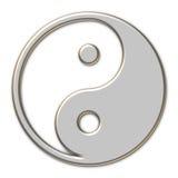 Yin Yang metallic. Chrome Yin Yang symbol illustration Royalty Free Stock Photos