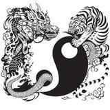 Yin Yang mit Drachen und Tiger Stockfotografie