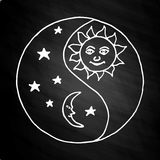 Yin yang moon at night on chalkboard Royalty Free Stock Photo