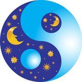 Yin and yang - night and day. Stylized yin and yang symbol. High resolution JPEG and EPS-8 files included Stock Images