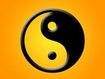 Yin yang no fundo alaranjado Fotos de Stock Royalty Free