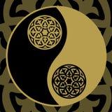 Yin-yang in oro Fotografia Stock