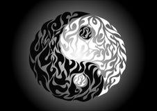 Yin yang, patroonsymbool van saldo en harmonie Stock Foto