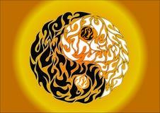 Yin yang, patroonsymbool van saldo en harmonie Stock Afbeeldingen