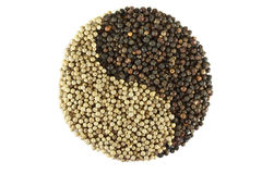 Yin and yang  pepper spices Stock Images