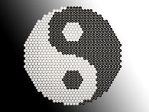Yin Yang puzzle. The Yin Yang symbol made of small balls. Each ball is set in polygonal golden stand. So, balls here symbolize numerous aspects of our life Stock Photo