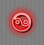 Yin yang rött neontecken stock illustrationer