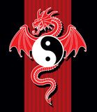 Yin Yang Red Dragon Stock Photography