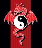 Yin Yang Red Dragon Stock Photography