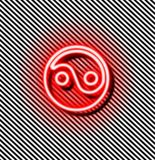 Yin yang red neon sign Royalty Free Stock Image