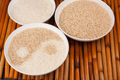 Yin-yang Rice on Bamboo Stock Photography