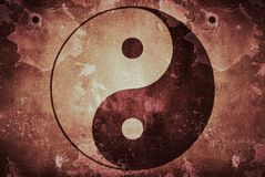 Yin Yang rustic texture on dirty background royalty free stock image