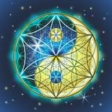 Yin Yang Sakralna geometria Zdjęcie Stock