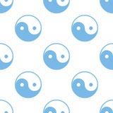 Yin Yang seamless pattern. Yin Yang white and blue seamless pattern for web design. Vector symbol Stock Image