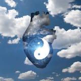 Yin Yang serce Fotografia Stock