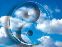 Yin yang in the sky. Yin yang symbol over a blue cloudy sky vector illustration