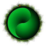 Yin yang sphere with grass Royalty Free Stock Photography
