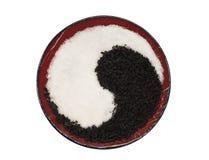 Yin and yang of sugar and tea Stock Photos