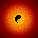Yin Yang sur le fond de mandala Photo stock