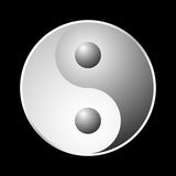 Yin Yang symbol. Over black background royalty free illustration
