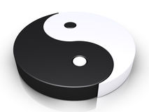 Yin and yang symbol. 3d yin and yang symbol is on the ground Stock Photo
