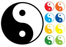 Yin and Yang symbol. Vector illustration. Colour variants Royalty Free Stock Photos