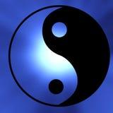Yin yang symbol. On a blue background Stock Photography