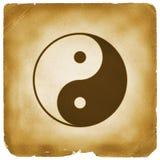 Yin Yang symbol aged old paper Stock Image