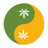 Yin and yang symbol also known as Taijitu as a symbol of harmony with cannabis leaf. Yin and yang symbol also known as Taijitu as a symbol of harmony with Stock Images