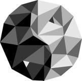Yin-Yang Symbol av harmoni i en ny modern vridning i en polygon s Royaltyfria Bilder