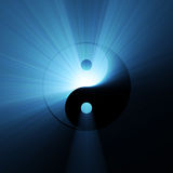 Yin Yang symbol blue light flare. An ancient oriental Yin Yang sign meaning of two opposite nature energy blending or balance with each other in universe stock illustration