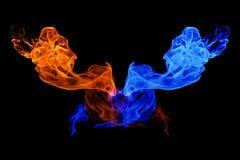 Yin-Yang symbol-, brand- och isbakgrund royaltyfria bilder