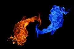 Yin-Yang symbol-, brand- och isbakgrund royaltyfri fotografi