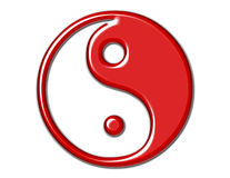 Yin Yang Symbol in Bright Red Royalty Free Stock Images