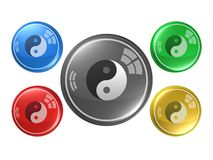 Yin and yang symbol,button, 3d illustration Royalty Free Stock Images