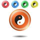 Yin and yang symbol,button,3D illustration Royalty Free Stock Image