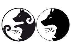 Yin yang symbol cat and dog, vector. Yin yang symbol with cat and dog, logo design for veterinary practice, vector graphic Stock Photo