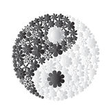 Yin Yang symbol consisted of flowers Stock Photos