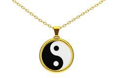 Yin Yang Symbol del culombio de oro de la armonía y de la balanza 3d rinden Fotos de archivo libres de regalías