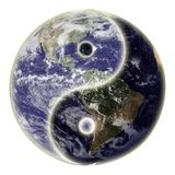 Yin and yang symbol and earth. Yin and yang symbol and globe or earth.  Earth picture credit to: http://www.nasa.gov Stock Photo