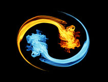 Yin-Yang-Symbol, -eis und -feuer Lizenzfreies Stockfoto