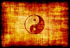 Yin Yang Symbol Engraved on Parchment. Yin Yang Symbol Engraved on a Parchment Background Royalty Free Stock Image