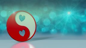 Valentines day card. Yin and yang symbol with hearts on reflective floor and shiny background, valentines card 3d render Royalty Free Stock Image