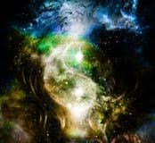 Yin Yang Symbol i kosmiskt utrymme kosmisk bakgrund arkivbild