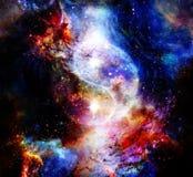Yin Yang Symbol i kosmiskt utrymme kosmisk bakgrund stock illustrationer
