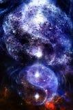 Yin Yang Symbol i utrymme med stjärnor, knastrar strukturen och gör sammandrag färgbakgrund royaltyfri illustrationer