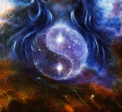 Yin Yang Symbol i utrymme med stjärnor, om kvinnahår, original- målning stock illustrationer
