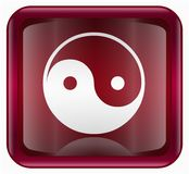 Yin yang symbol icon red Royalty Free Stock Images
